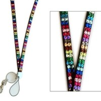 Multi Color Rainbow Crystal Rhinstone Lanyard Sparkles! Gift for Registered Nurse, Teachers, Gradua