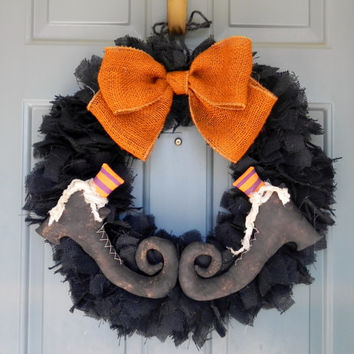 Burlap Halloween Wreath SET OF 2 (large 24'') with Primitive Witch Boots PAIR - (customize the stocking colors)Swamp Water Line