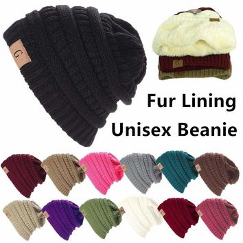 f93bb64c82f Unisex Knitted Skull Messy Bun Slouchy Baggy Beanie Oversize Winter Hat Ski  Cap