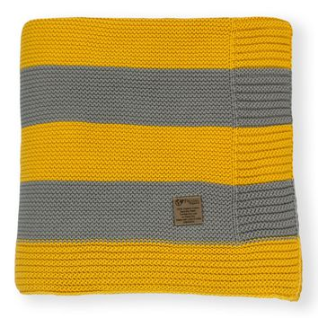 Slate Grey & Mustard Stripe Knit Organic Cotton Blanket