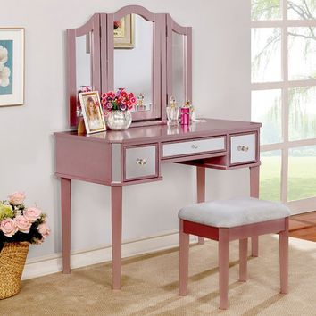 3 pc clarisse collection rose gold finish wood make up bedroom vanity set