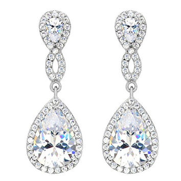 EVER FAITH® 925 Sterling Silver Zircon Wedding 8-Shaped Infinity Pierced Dangle Earrings Clear