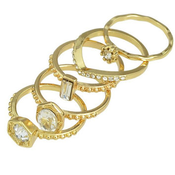5 Pieces Golden Rhinestone Rings