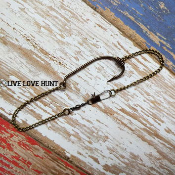 fish hook bracelet - gone fishing - brass