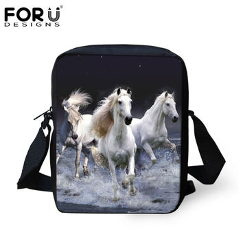 FORUDESIGNS Designer Women Men Messenger Bags Crazy Horse Printing Shoulder Bag Girls Cross Body Bag Messenger-Bag for Woman
