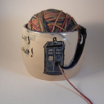 Tardis and Dalek Ceramic Yarn Bowl - EXTERMIKNIT!!!
