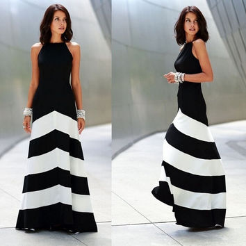 Women Sexy Long Maxi Dresses Casual Party Evening elegant Vestidos Beach Black White Striped Backless Dresses = 5617223233