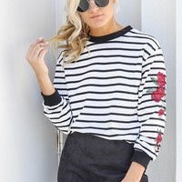 My Town White Striped Rose Top
