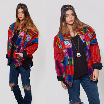 Vintage 90s Hippie Jacket Rainbow GUATEMALAN Quilted Patchwork ETHNIC Bomber Jacket