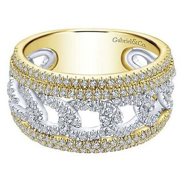 "Gabriel ""Love Knot"" Two-Tone Right Hand Diamond Ring"