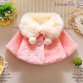 2017 Winter Baby Girl Clothes Faux Fur Fleece Big Collar Coat Warm Jacket Pearl Snowsuit Newborn Baby Outerwear Girls Clothes