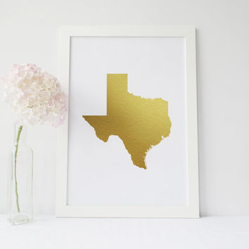 "PRINTABLE Art"" Texas Map Gold Foil""Gold Print,Map Gold Decor,Wall Decor,Map of Texas Gold Foil Art Print,Inspirational Art,Home Decor"