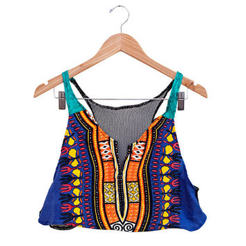 Mesh Back Dashiki cotton Crop Top size S/M