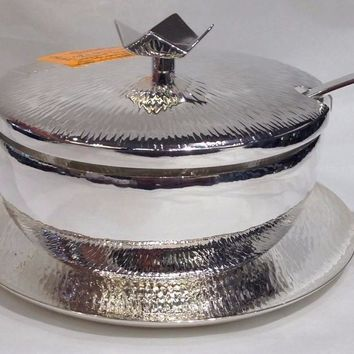 Silver Honey Dish with Spoon and Saucer