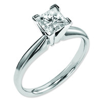 14K White Gold Moissanite 6mm Square Solitaire Ring MTJA63