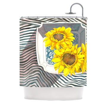 "S. Seema Z ""Finall Sunflower"" Yellow Flower Shower Curtain"