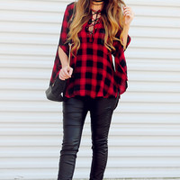 Checked Out Top: Red/Black
