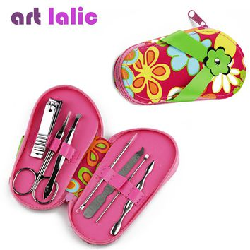 7 pcs slippers shaped Nail Art Manicure Set Nail Care Tools with Mini Finger Nail Cutter Clipper File Scissor Tweezers Color