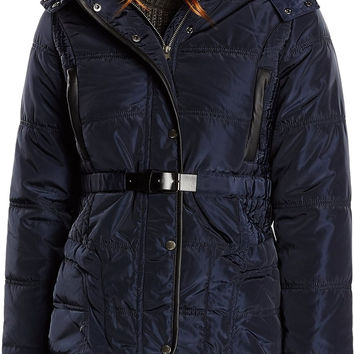 Bellfield Cranbrook Faux Fur Hooded Belted Padded Jacket