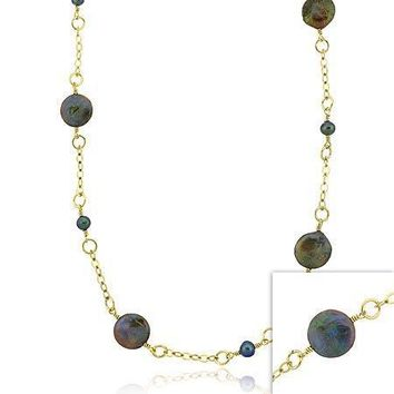 Vermeil (24k Gold over Sterling Silver) Genuine Freshwater Cultured  round Black & Green Coin Pearl leaf link Long Necklace 30""""