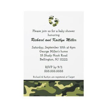 Camo Army Green Baby Feet Shower Invitation from Zazzle.com