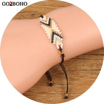 Go2boho Dropshipping Charm Bracelet MIYUKI Seed Beads Delicas Rope Bracelets Women Jewelry Her Gifts Beadwork Handmade Woven
