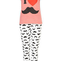 Moustache Tee And Trouser Set - Lingerie & Nightwear  - Clothing  - Topshop