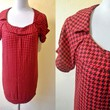 red houndstooth shift dress (free size), geometric print mini dress