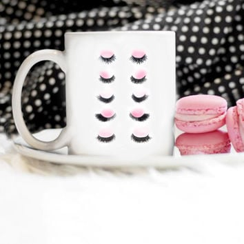 Eyelash Mug, Makeup Mug, Eyelashes, Girly Mug, Christmas Gift, Cup, Painted Mug, Watercolor Mug
