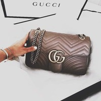 GUCCI Tide brand women's fashion wild wine god chain shoulder Messenger bag Khaki