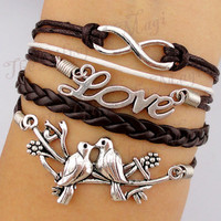 Infinity & Love Birds Charm Bracelet in Silver-Wax Cords and Leather Bracelet, Friendship gift--Personalized Bracelet