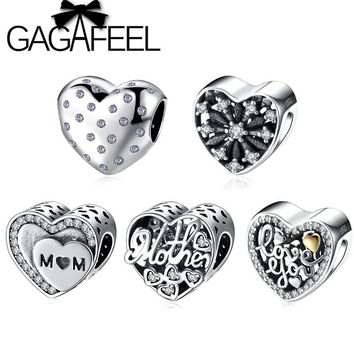 GAGAFEEL Love You Mother Letter Beads Fit Pandora Charm Necklace Bracelet Pure 925 Sterling Silver