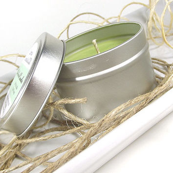Aloe Vera & Cucumber scented Soy Candle Tin - Scented Soy Candle -- 4 ounce Tin