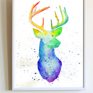 Deer Head Print Watercolor Buck Stag Mount Hunter Animal Nursery Poster Wall Art Decor
