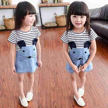Girls Dresses 2017 Baby Girl Fashion Stripe Short Sleeve Denim Dress T-shirt Clothes Kids Girls Summer Cute Mice Patchwork Dress