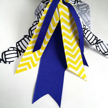 Blue and yellow volleyball hair streamers, ponytail holder ribbon, volleyball ribbon hair tie, school colors team sports, chevron streamers