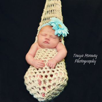 Baby Cocoon Newborn Stork Pouch Crochet Cocoon by Monarchdancer