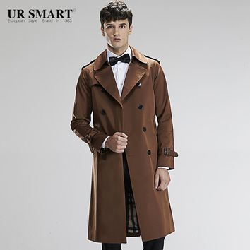 Military style URSMART authentic double-breasted super long men's windbreaker brown tunic male trench coat
