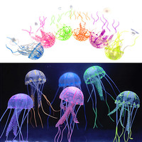 Lovely Silicone Mini Size Jellyfish Style Swim Glowing Effect Fish Tank Aquarium Decoration Accessories On Big Sale