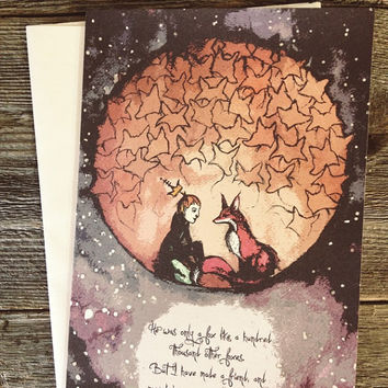 The Little Prince and His Fox Greeting Card - 5x7 Blank Inside with Envelope