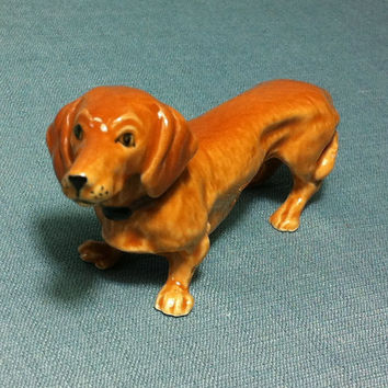 Miniature Ceramic Dachshund Dog Animal Cute Little Funny Tiny Small Orange Brown Figurine Statue Decoration Collectible Hand Painted Craft