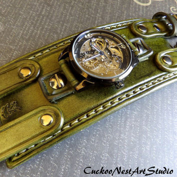 Unisex Army Green Steampunk Watch, Double strap Leather Wrist Watch, Leather Cuff, Bracelet Watch, Watch Cuff