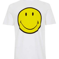 WHITE SMILEY LOW ROLL T-SHIRT