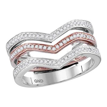 10kt White Rose Gold Women's Round Diamond 3-piece Triple Stackable Chevron Band Ring 1/3 Cttw - FREE Shipping (US/CAN)
