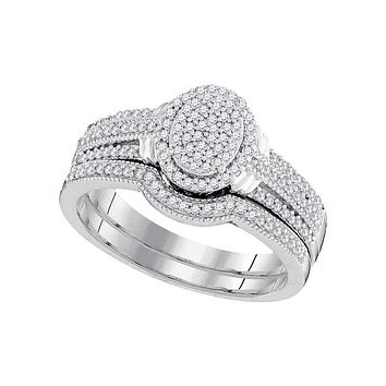 10kt White Gold Women's Round Diamond Oval Bridal Wedding Engagement Ring Band Set 3/8 Cttw - FREE Shipping (US/CAN)