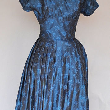 Fashion 1950s Prom Dress/ Deep Blue Taffeta Fit and Flare Dress/ Size XXSmall