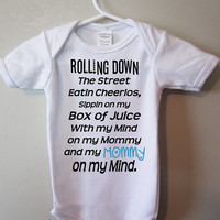 Mommy on My Mind, Funny baby clothes, Rolling down the street, mommy bodysuit, Free USA Shipping, by BlueFoxApparel *
