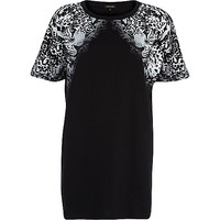 River Island Womens Black leopard print oversized t-shirt dress