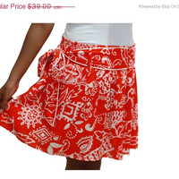 ON SALE Flower Mini Skirt in Orange and White with Sash Belt / Spring Fashion Skirt / Ready to Ship