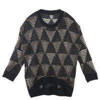 Black Triangle Pattern Loose Knit Tops with Dip Back